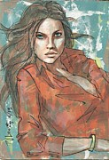 Alluring Painting Originals - Orange Blouse by P J Lewis