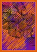 Symmetrical Design Prints - Orange Blue Abstract Print by Barbara Snyder