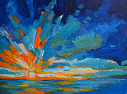 Impressionist Art Sale Posters - Orange Blue Sunset Landscape Poster by Patricia Awapara