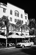 Edison Prints - Orange Chevrolet Bel Air In The Cuban Style Outside The Edison Hotel Ocean Drive Print by Joe Fox