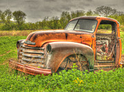 Old Chevrolet Truck Framed Prints - Orange Chevy Framed Print by Thomas Young