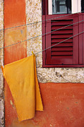 Clothes Pins Photos - Orange Cloth  by Carlos Caetano