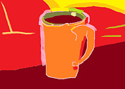 Coffee Mug Drawings Prints - Orange Coffee Print by Anita Dale Livaditis