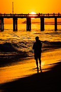America Photography Prints - Orange County California  Sunset Fishing Picture Print by Paul Velgos