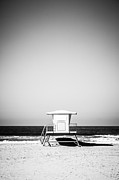 Huntington Prints - Orange County Lifeguard Tower Black and White Picture Print by Paul Velgos