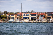 Homes Posters - Orange County Waterfront Homes in Newport Beach Poster by Paul Velgos
