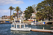 Southern Homes Framed Prints - Orange County Waterfront Homes with Duffy Boats Framed Print by Paul Velgos