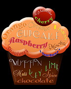 Cherry Art Mixed Media Prints - Orange Cupcake Typography Print by Andee Photography