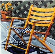 On Deck Painting Posters - Orange deck chair Poster by Margaret  Wright-Niemann