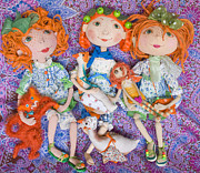 Hand Made Art - Orange Dolls by Svitlana Denysova