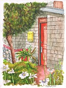 Urban  Drawings Paintings - Orange door in Laguna Beach - California by Carlos G Groppa