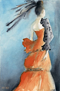 Watercolour Portrait Prints - Orange Evening Gown with Black Fashion Illustration Art Print Print by Beverly Brown Prints