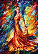 Dancing Girl Posters - Orange Fance Poster by Leonid Afremov