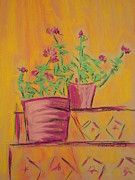 Magazine Pastels - Orange Geraniums by Marcia Meade