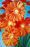 Gerbera Paintings - Orange Gerber Daisys by Jayne Morgan