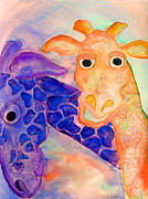 Purple Digital Art Digital Art Digital Art Drawings - Orange Giraffe by Shannan Peters