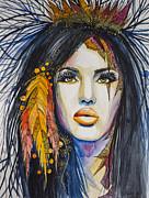 Orange Girl Print by Lyubomir Kanelov