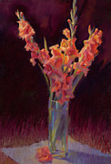 Gladiolus Paintings - Orange Gladiolus  by Cathy Locke