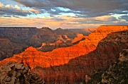 Monsoon Framed Prints - Orange Glow At Mather Point Framed Print by Adam Jewell