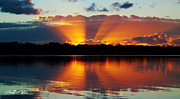 Surises Prints - Orange Gods - Sunrise Panorama Print by Geoff Childs