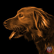 Retriever Digital Art - Orange Golden Retriever - 4047 F by James Ahn