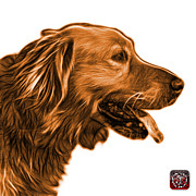 Golden Retriever Mixed Media - Orange Golden Retriever - 4047 FS by James Ahn