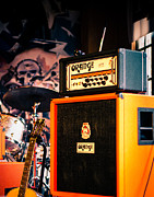 Sonja Quintero Prints - Orange Guitar Amps Print by Sonja Quintero