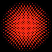Optical Illusion Digital Art Posters - Orange Halftone Dots on Black Poster by Paulette Wright