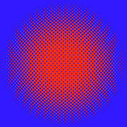 Optical Illusion Digital Art Posters - Orange Halftone Dots on Blue Poster by Paulette Wright