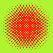 Optical Illusion Digital Art Posters - Orange Halftone Dots on Lime Green Poster by Paulette Wright