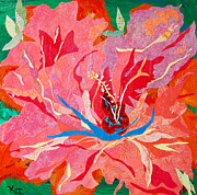Peaceful Scene Mixed Media Prints - Orange Hibiscus Collage Print by Kat Ebert