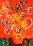 Orange Impressionistic Vase Of Flowers Print by Anne-Elizabeth Whiteway