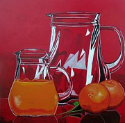 Jugs Prints - Orange Juggle Print by Sandra Marie Adams
