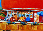 Quebec Cities Paintings - Orange Julep Gibeau Landmarks Of Montreal by Carole Spandau