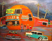 Hot Dog Stand Paintings - Orange Julep Icon by Michael Litvack