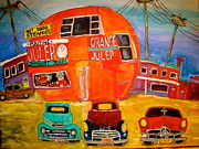 Orange Julep Paintings - Orange Julep Truck line-up Montreal Memories by Michael Litvack