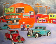 Orange Julep Paintings - Orange Julep Trucks Montreal Memories by Michael Litvack