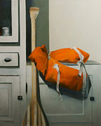 Gear Painting Posters - Orange Life Vest Poster by Steven Allen Boggs