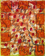 Line Pastels Originals - Orange Mood by Jose P