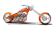 Bike Drawings - Orange N Tangy by Paul Kim