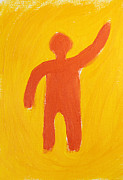 Silhouette Painting Posters - Orange Person Poster by Igor Kislev