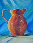Pottery Pitcher Painting Prints - Orange Pitcher Still Life Print by Donna Tuten