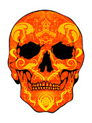 Scull Posters Framed Prints - Orange Scull Framed Print by Mauro Celotti