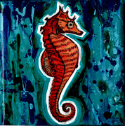 Genevieve Esson Painting Originals - Orange Seahorse by Genevieve Esson
