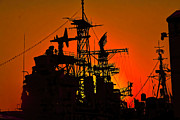 Buffalo Naval Park Posters - Orange Silhouetted USS Little Rock Poster by Jim Lepard