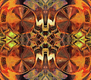 Patterned Mixed Media Prints - Orange Slices Ornamental Abstract Print by Zeana Romanovna