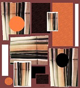 Most Popular Mixed Media Posters - Orange Stacked Up Poster by Sharon Ann Calvo