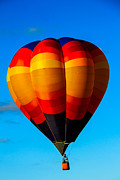 West Wetland Park Posters - Orange Stipped Hot Air Balloon Poster by Robert Bales