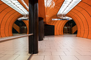 Architektur Metal Prints - Orange Subway Station Metal Print by Martin Dzurjanik