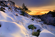 Orange Sunset At The Mountains Print by Guido Montanes Castillo